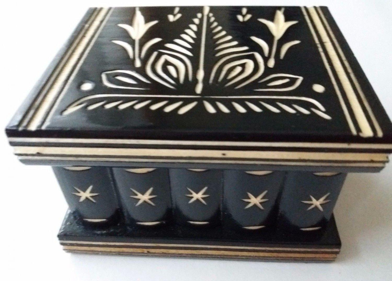 New cute handmade black wooden secret magic puzzle jewelry ring holder box gift