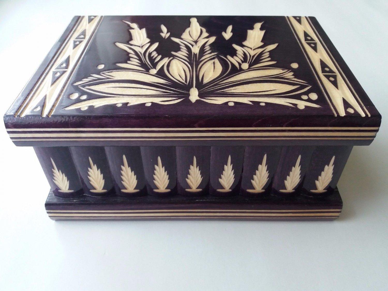 New big huge deep violet wooden jewelry magic puzzle box adventure hunt treasure