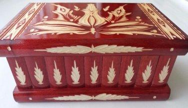 New big huge red wooden wizard jewelry puzzle magic case box hidden brain teaser