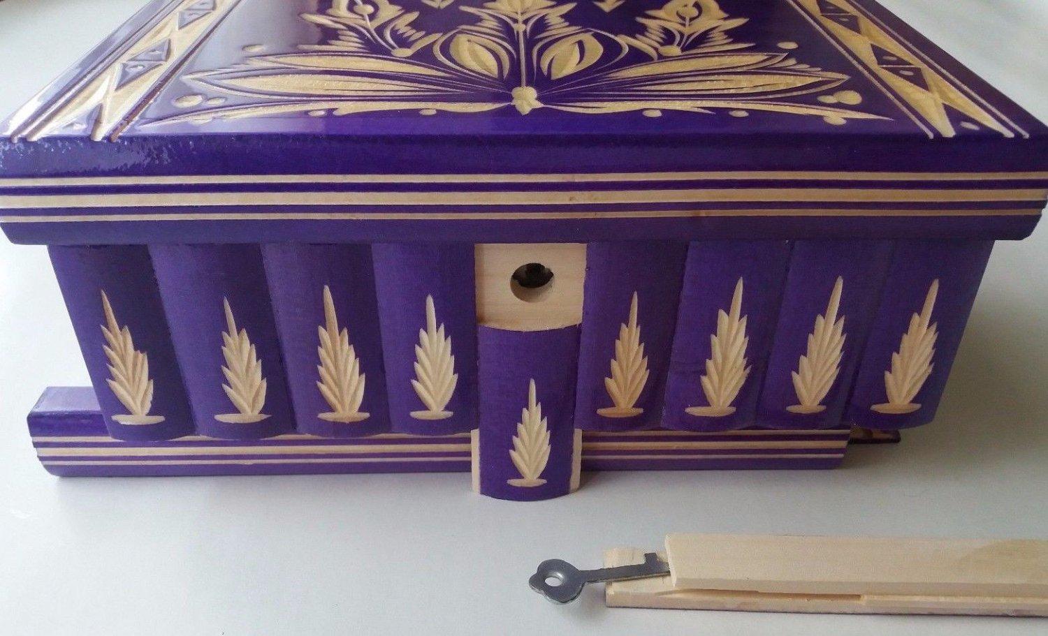 New big huge special purple wood jewelry secret magic treasure puzzle box case