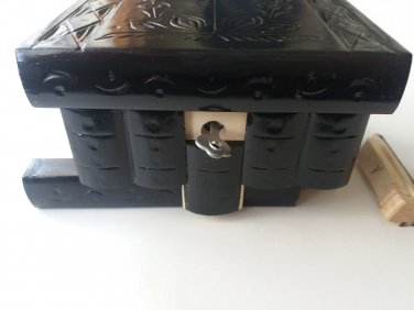 New special black wooden puzzle magic storage jewelry secret box brain teaser