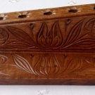 Brown Handcarved pen pencil holder support wooden desk office school articles