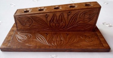 Brown Handcarved pen pencil holder support wooden desk office school articles
