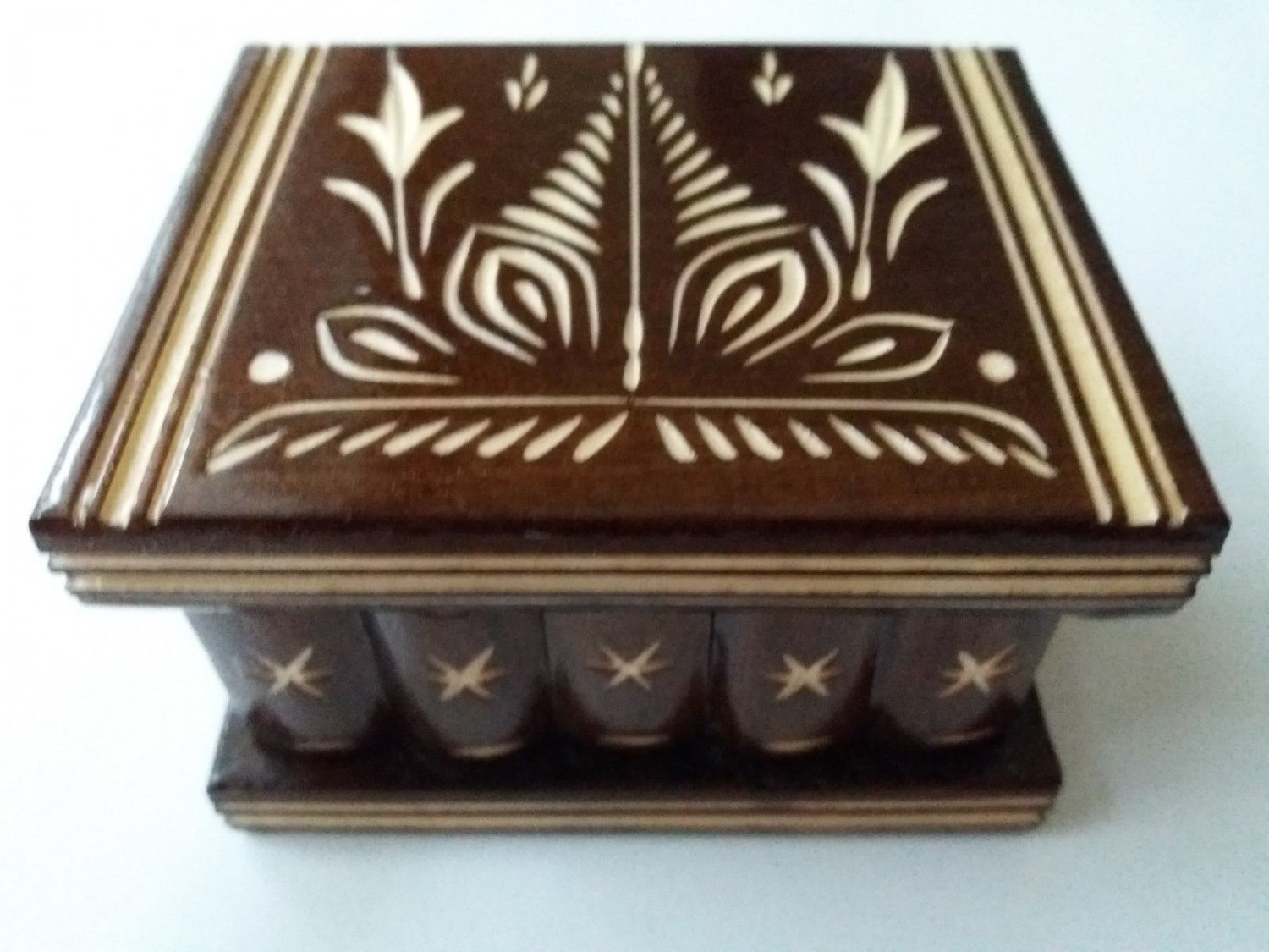 New cute handmade brown wooden secret magic puzzle jewelry ring holder box gift