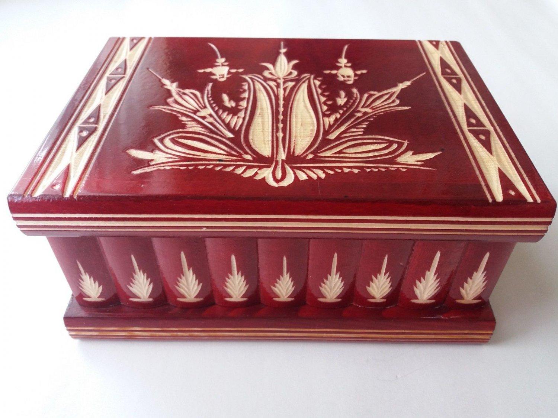 New big huge red wooden jewelry secret magic puzzle treasure pirate wizard box