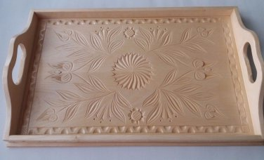 Tray salver plate home decor serving dish unique big carved natural maple wood