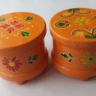 Antiqued set of round handpainted magic puzzle mystery jewelry box wooden wizard