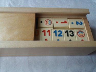 New big rummikub rummy beige piece travel strategy family board game wooden box