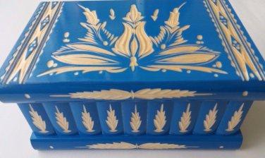 New big huge blue wooden wizard jewelry puzzle magic box hidden key brain teaser