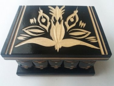 New black wooden secret magic puzzle jewelry ring holder surprise mystery box