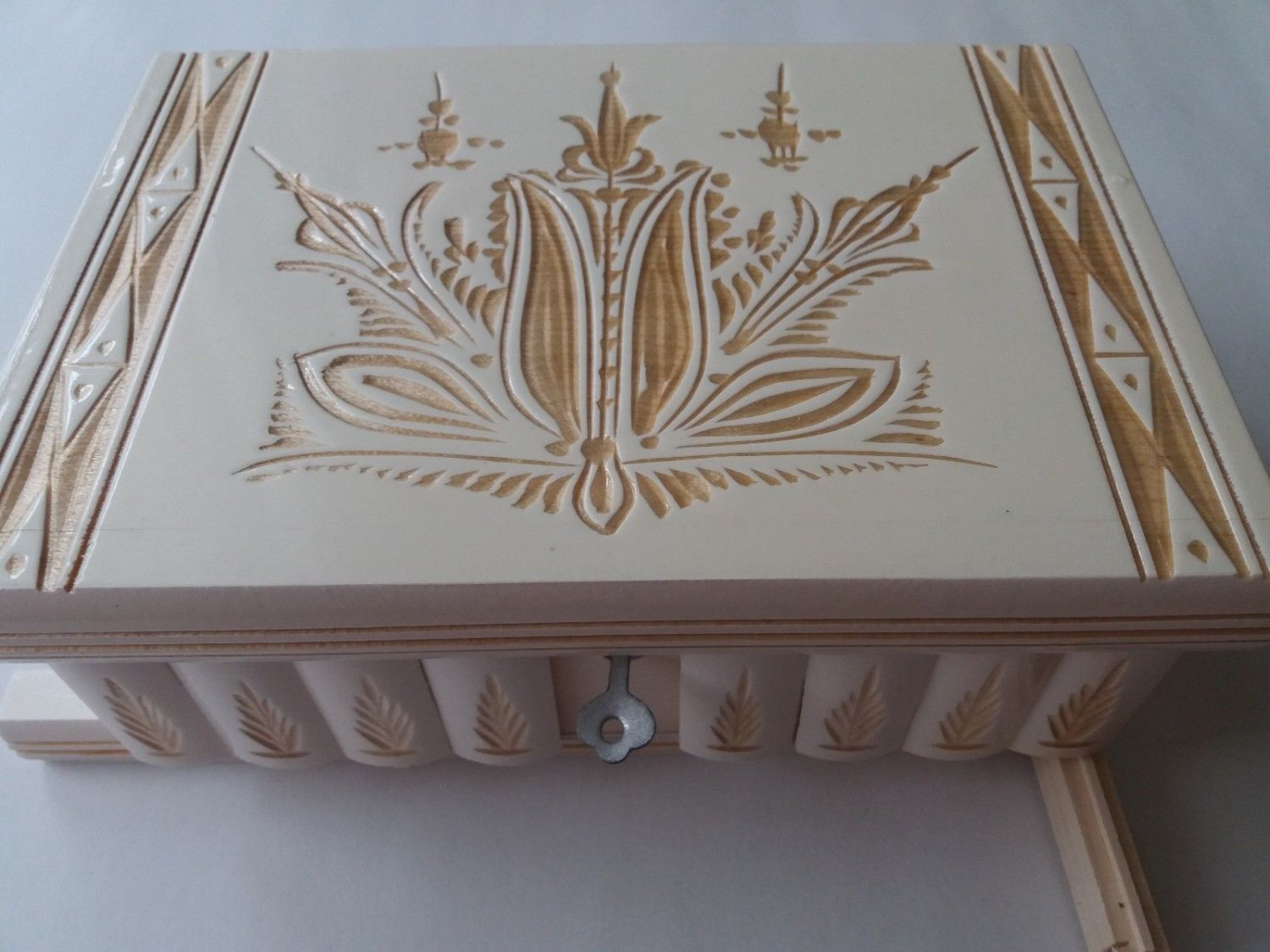 New big huge white jewelry magic puzzle box adventure challenge hidden drawer