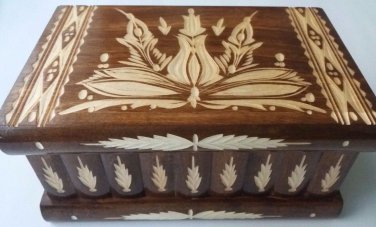New big huge brown wooden wizard jewelry puzzle magic case box hidden drawer key
