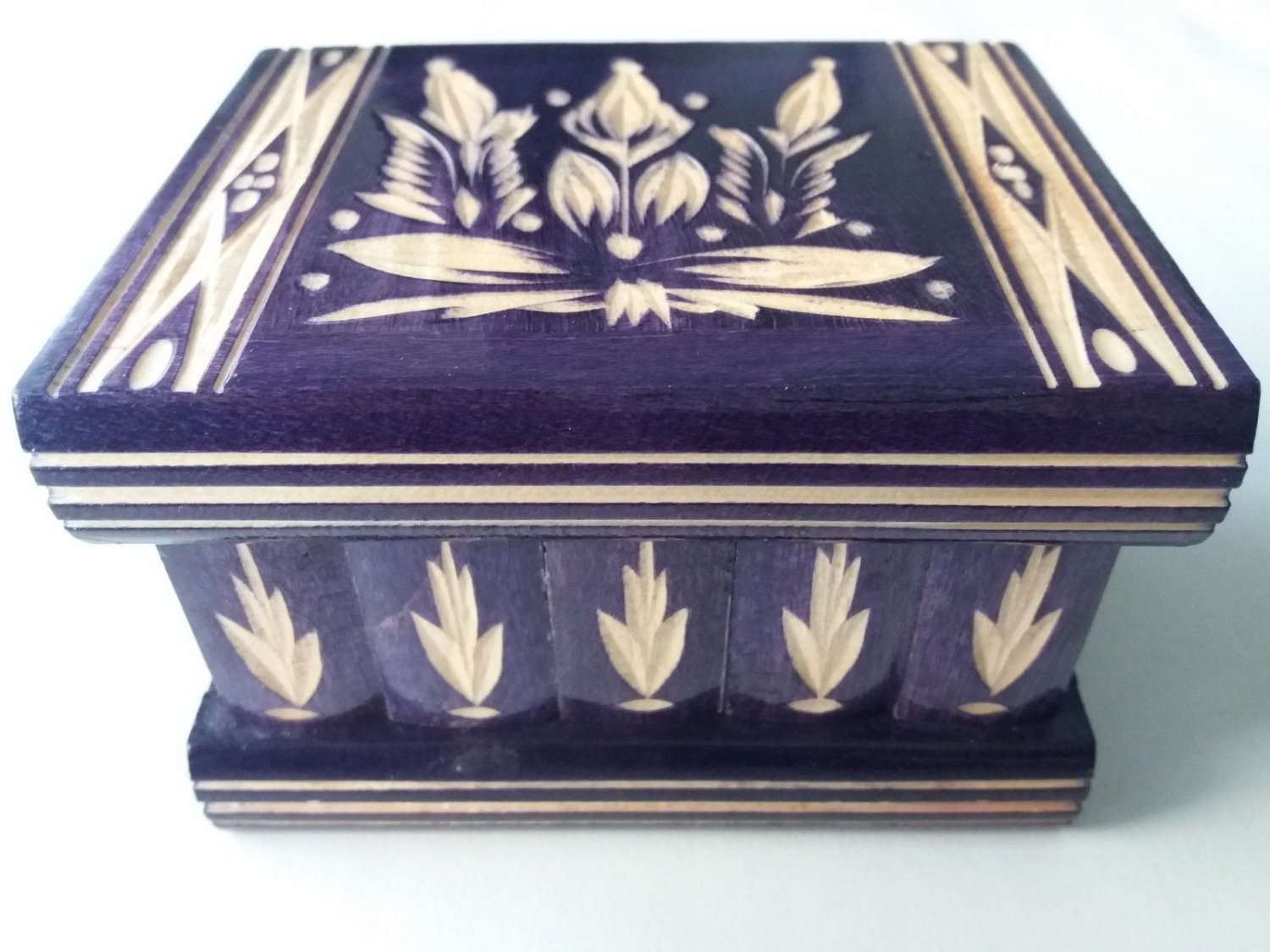 New violet handcarved wooden puzzle magic storage jewelry secret trinket box