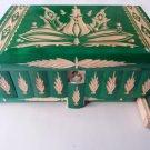 New big huge green wooden wizard jewelry puzzle magic case box hidden drawer key