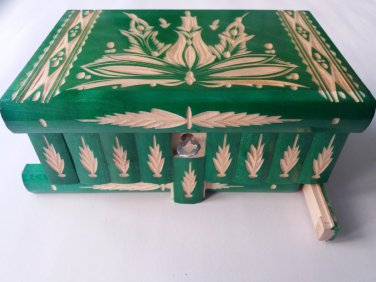 New big huge green wooden wizard jewelry puzzle magic case box hidden drawer key