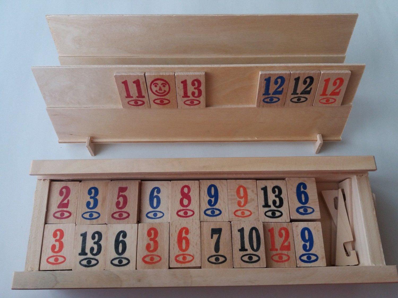 New complete wooden handmade rummy rummikub game children's travel game strategy