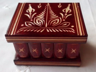 New cute handmade red wooden wizard secret magic puzzle surprise ring holder box