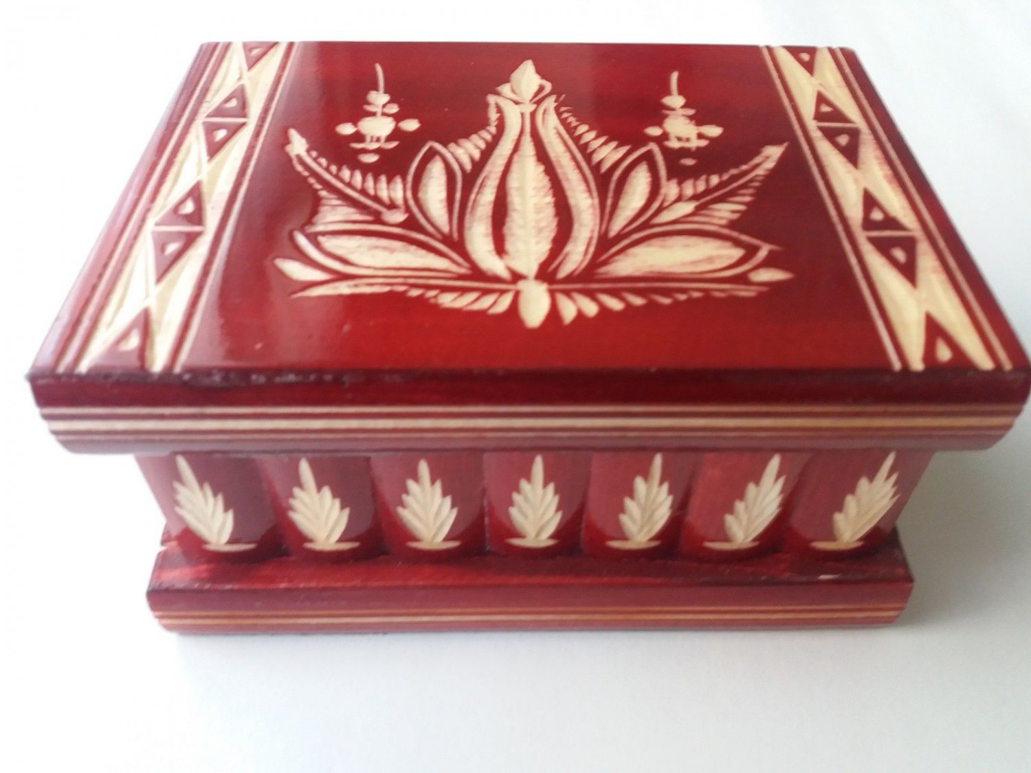 New special red wooden wizard jewelry puzzle magic box brain teaser trinket case