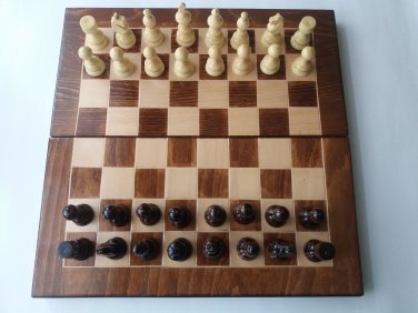 New beech wood chessboard box backgammon checkers hazel wood chess piece set