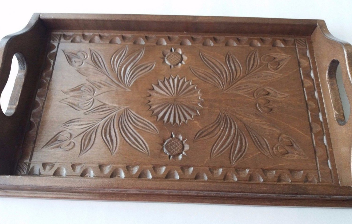 Brown maple wood small carved tray salver plate home decor serving dish unique