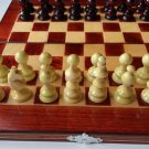 Red travel wooden chess set handspindled chess piece,beech wood chessboard box