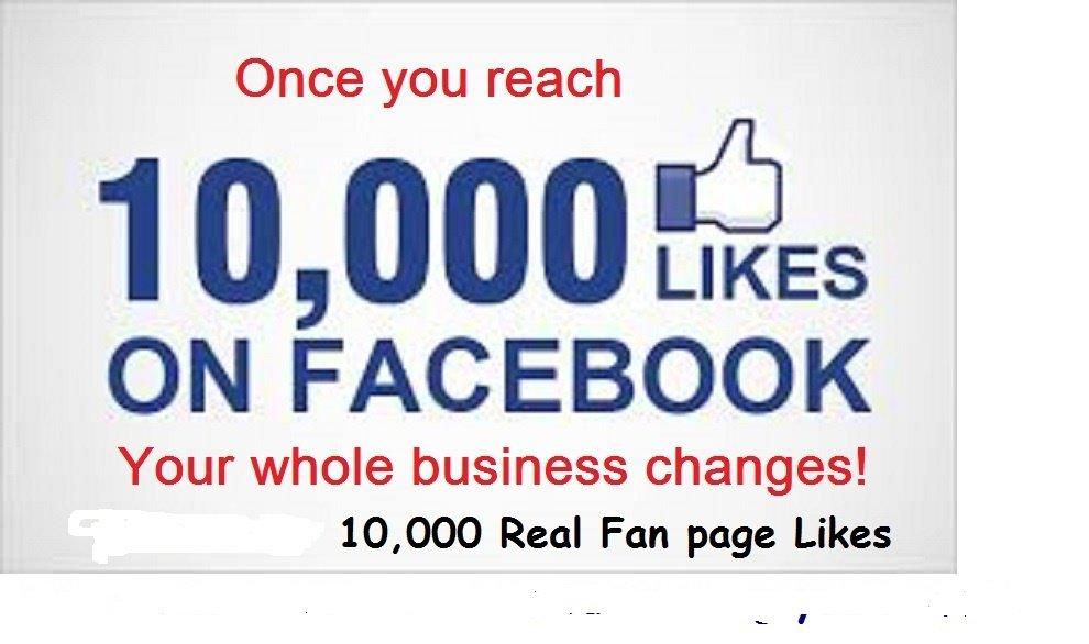 10,000 Facebook Fan Likes   Fan page real likes