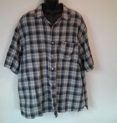 Calvin Klein Jeans CK XL Mens Plaid Pocket X Large Shirt Flax Size Short Sleeve