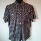 Wrangler Western Pearl Snap Mens Plaid L Pocket Short Sleeve Large Shirt Size