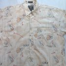 Chaps Golf Shirt L Mens Size Pocket Short Sleeve Large All Over Print Graphic