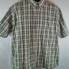 Wrangler Mens Shirt Green X Large XL Plaid Check Polo Short Sleeve Size 1X Front
