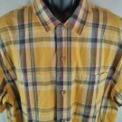 Eddie Bauer Yellow Check Plaid Polo X Large XL Size Short Sleeve Button Front Up
