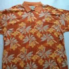 Cutter And Buck Orange Short Sleeve Polo Mens Shirt Golf Size Hawaii L Large