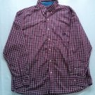 Large Chaps Check Plaid Mens Shirt Button Up L Long Sleeve Red Logo Dress Front