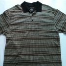 Izod Large Mens Polo Shirt Red White Golf Black Short Sleeve L Button Dress Up