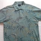 Izod Medium Mens Polo Shirt M Blue Flower Golf Casual Short Sleeve Silk Wash
