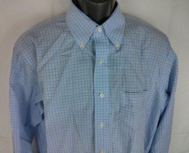 Brooks Brothers Shirt Men's Light Blue 16 1/2 36/37 Plaid Check 100% Cotton Long