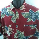 Red Chaps Ralph Lauren Hawaiian Large L Shirt Flower Tropical Beach Surf Floral