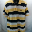 Ralph Lauren Chaps Stripe Polo Yellow Blue XL X large Short Sleeve Logo Summer