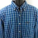 Blue Plaid Chaps Men's Shirt Check Large L Dress Casual Long Sleeve Button Front