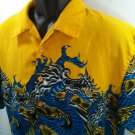 Steve & Barry's Hawaiian Men's Shirt Yellow Water Dragon Surf Tropical Beach M