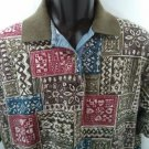 Hunt Club Large L 100% Cotton Men's Shirt Made In USA Polo Brown Flower Floral