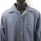 Chaps 60% Cotton Mens Shirt Blue Stripe Striped Wrinkle Free 15 1/2 34/35 M