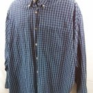 Wrangler Cool River Cotton Men's Shirt Blue Check Plaid XL X-Large Button Front