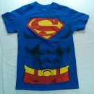 Superman Super Man Costume Small S T Shirt Blue Comic DC Halloween Dress Up Tee