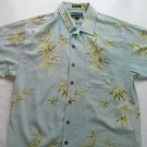 Weekender 70% Silk Mens Hawaiian Shirt Blue Tree Flower Wood Buttons Finest M