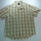 Tony Hawk Button Front Plaid XL X L Large Mens Short Sleeve Shirt White Blue 1X