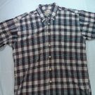 Woolrich Short Sleeve Mens Plaid Shirt L Large Red White Blue Button Front