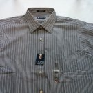 New Chaps Mens Shirt Stripe Large 16 1/2 34/35 Gray White NWT Long Sleeve Night
