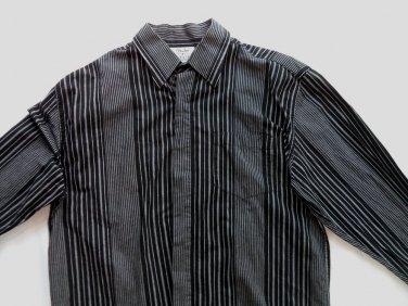 Fender Mens Shirt Long Sleeve Pin Stripe Button Black Skull Tattoo Medium M