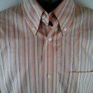 Eddie Bauer Wrinkle Resistant Men's Shirt Large L Stripe Long Sleeve 100% Cotton